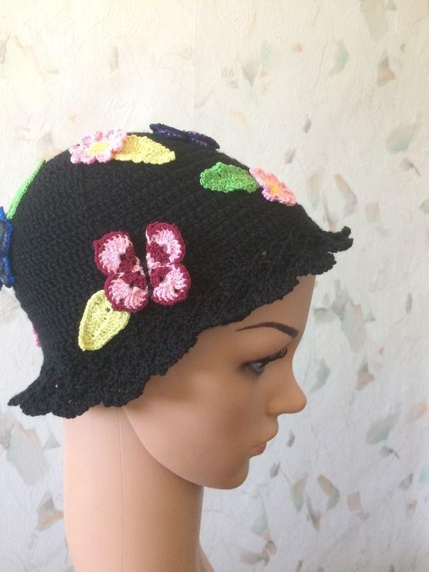 Ручная работа Вязаная шляпа с цветами и бабочками
