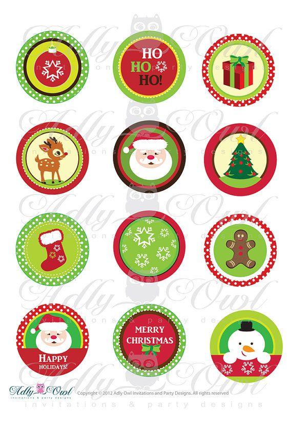 Happy Holiday Cupcake Toppers ou faveur Tags pour Noël, fête du nouvel an avec arrière-plans colorés - 2 (5 cm) Cupcake toppers ♥ ce que GET