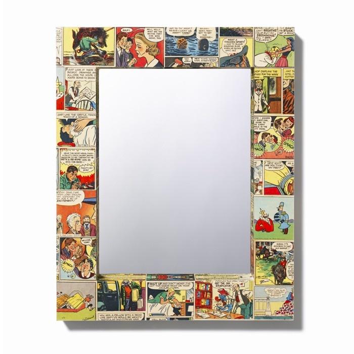 Decoupage a mirror with comics