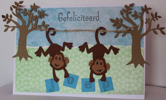 Gemaakt door Guus # verjaardagskaart met aapjes - voor Joep