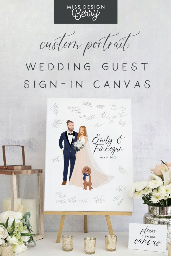 Custom Portrait Wedding Sign In Canvas In 2020 Custom Portrait Wedding Wedding Guest Book Unique Wedding Guest Book