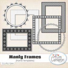 manly frames templates by kim cameron cudigitalscom cu commercial template scrap scrapbook digital graphics