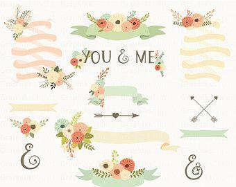 Clipart de flores de cintas. Cintas, flores, flechas, símbolo de Unión. Boda de Clipart.14 imágenes, 300 dpi. EPS, archivos Png. Descarga inmediata.