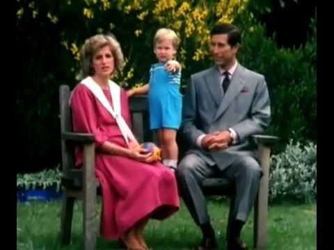 Princess Diana, Prince Charles & Prince William in the garden of Kensing...