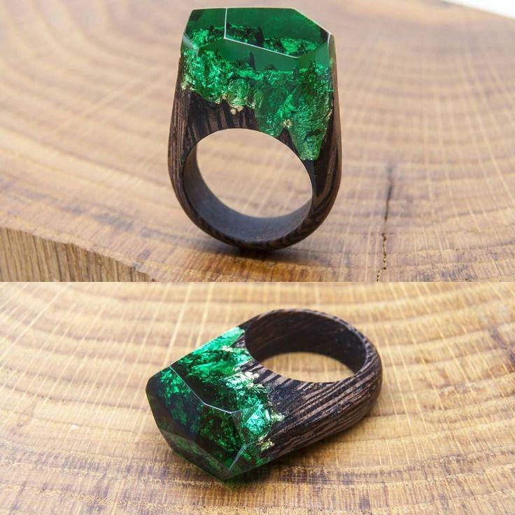 Emerald Forest  #greenwood #greenwoodring #woodjewelry #woodenrings #woodrings