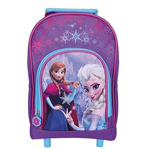 Mini Valise Enfant Disney La Reine des Neiges – Sac à dos avec roues pour maternelle et école primaire avec Anna et Elsa de Frozen – Violet…