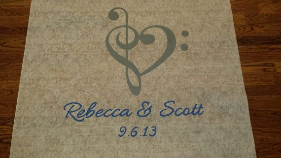 Treble Clef Heart Design Wedding Aisle runner for music themed wedding. Other colors and designs available. Shop offers rush orders and free monogram designs!