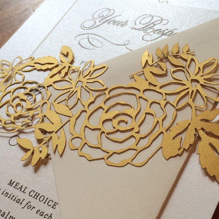 Laser cut belly band, floral laser cut wedding invitation, custom laser cut belly band by sofiainvitations on Etsy https://www.etsy.com/listing/398316765/laser-cut-belly-band-floral-laser-cut