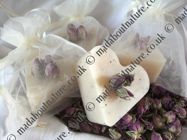 An Attractive Cream Organza Bag With A Heart Soap Hand Decorated Dried Rosebuds Medieval WeddingWedding FavoursWedding