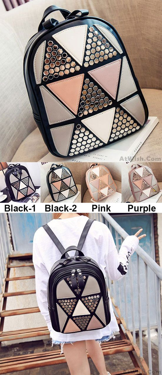 Unique Girl's PU Splicing Leisure Rivet School Backpack Triangles Sequins Backpacks for big sale! #pu #backpack #rivet #school #college #school