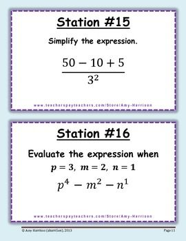 Middle School Math Stations Order of Operations Simplifying Expressions