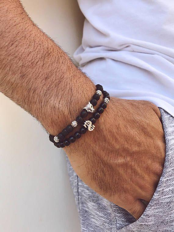 Black Bracelets Men, Black Beaded Bracelets Men, Dollar Bracelet, Tiger Bracelet, Men's Bracelet, Gift for Him, Bestfriend's Gift.