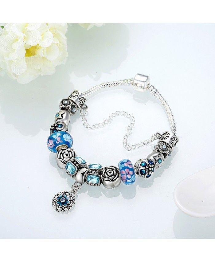 New Fashion Blue Glass Charms With Flower Pendant DIY Bracelet