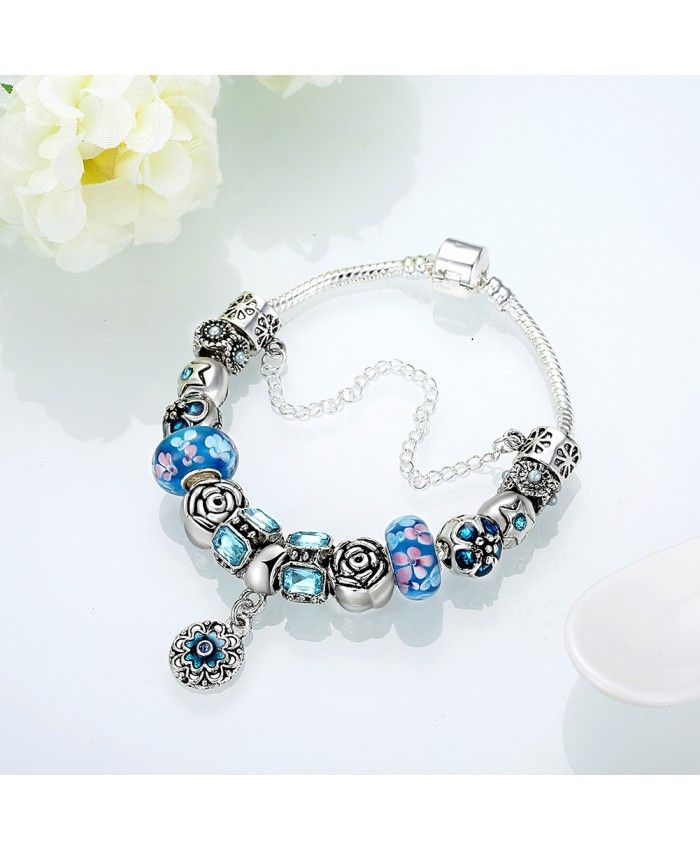 New Fashion Blue Glass Charms With Flower Pendant DIY Bracelet