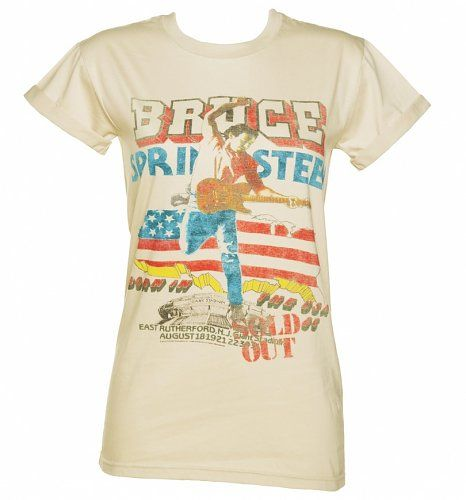 Women's Beige Bruce Springsteen Tour Rolled Sleeve Boyfriend T-Shirt : Main