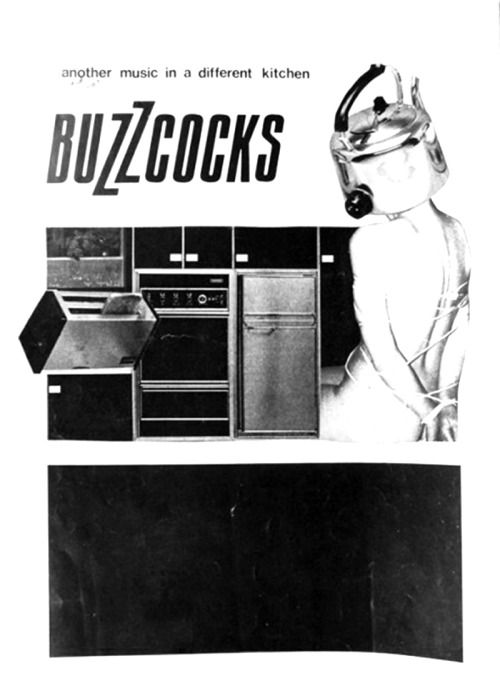 Buzzcocks, ad for their debut album Another Music in a Different Kitchen with artwork by Linder Sterling, 1978