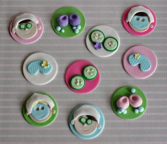 Fondant Spa Cupcake Toppers Perfect for a Spa by parkersflourpatch