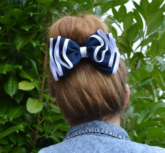 Navy blue and white ruffled hair bow for women, black and white ruffles, black and white hair bow on Etsy, $11.99