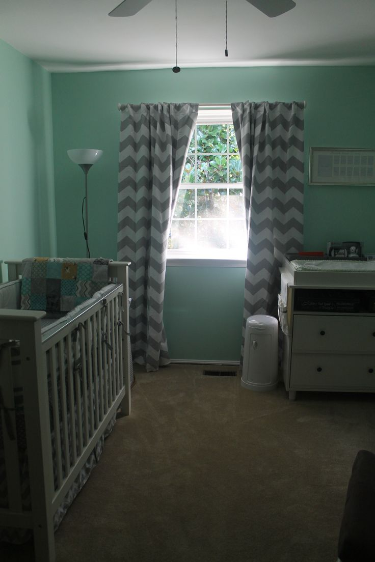 Light pink chevron curtains - Mint Green Grey Chevron Mustache Nursery