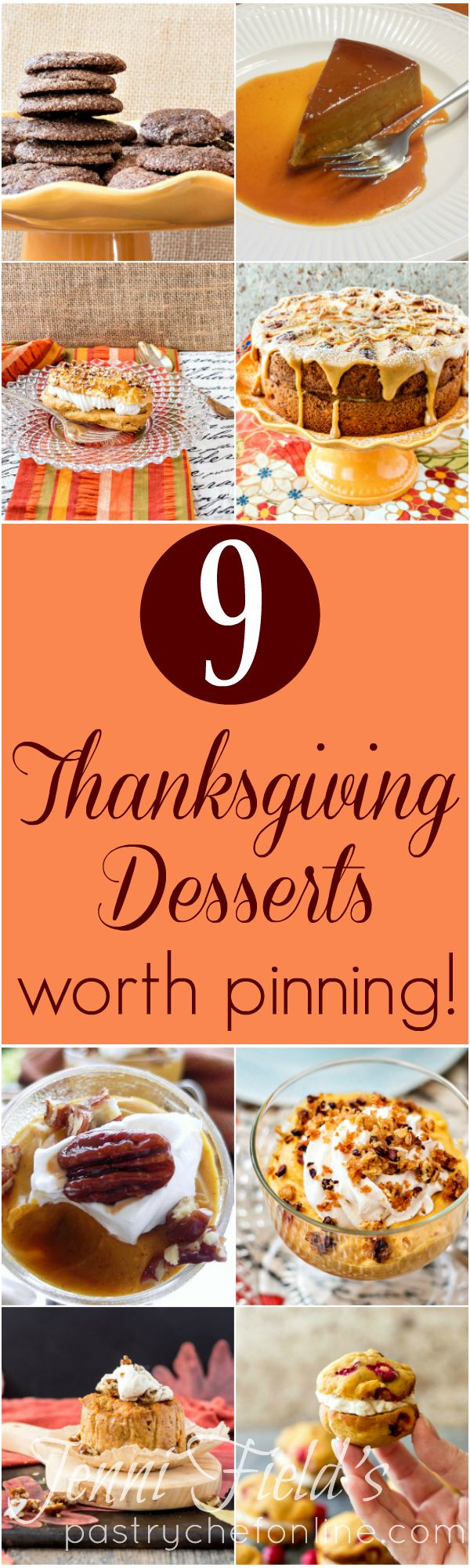 If you are looking for the best Thanksgiving dessert recipes I have to offer, you have found them here! Pumpkin desserts plus a lovely apple pecan cake, and some truly decadent chocoalate cookies. I think you will love this roundup of Thanksgiving Desserts worth pinning! | pastrychefonline.com