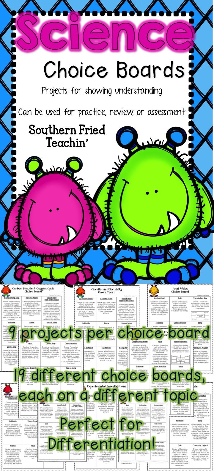 Students love to be able to make choices in their learning. So, why not let them! Science Choice Boards are a great tool to use in your science classroom because they allow for differentiation along with choice. Students are encouraged to think critically and creatively through the use of Choice Boards.