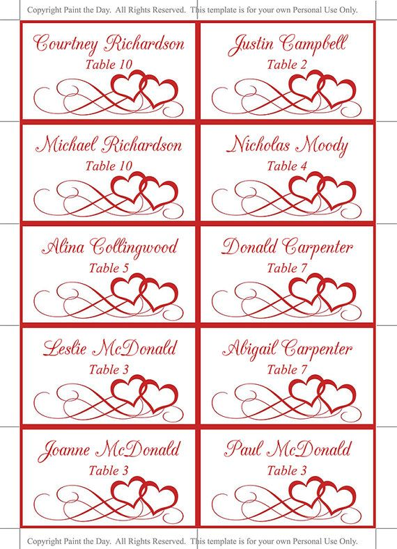 valentine red place card template  printable escort card