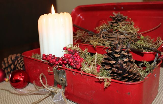 Old Rustic Metal Toolbox turned into Christmas Centerpiece w/ Evergreen, Pine Cones, Berries, Candle, Glass Ornaments, Twine & Ribbon