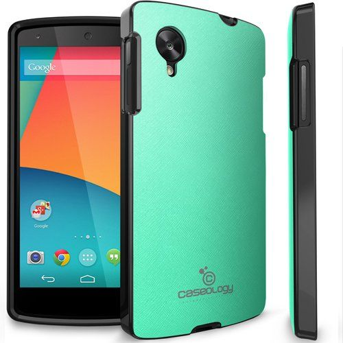Amazon.com: Caseology LG Google Nexus 5 [Saffiano Hybrid Series] - Premium Matte Leather Shock Absorbent TPU Bumper Case (Turquoise / Mint) ...I ended up buying this one. Excellent case.