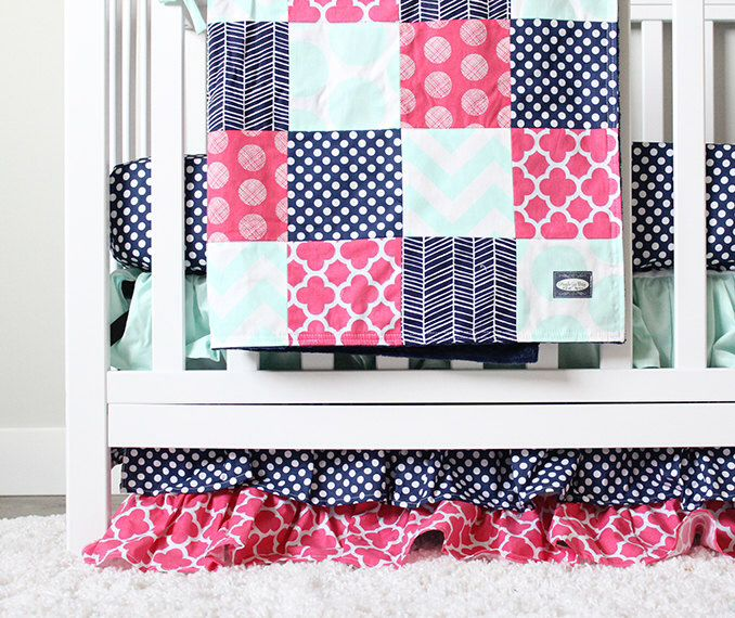 Baby Girl Crib Bedding, Navy, Mint and Pink Baby Bedding by GiggleSixBaby on Etsy https://www.etsy.com/listing/253101913/baby-girl-crib-bedding-navy-mint-and