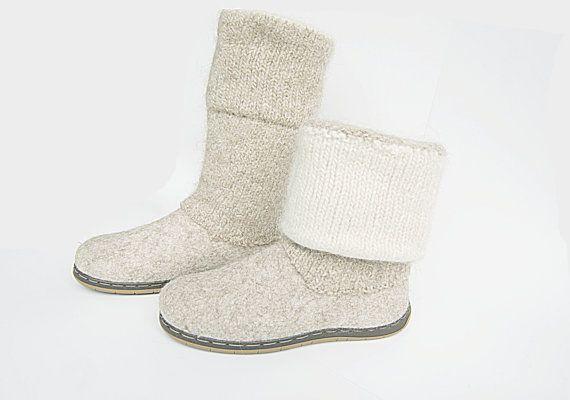 Gevilte wol beige laarzen met gekookte wol Gebreide top en soles voor buiten…