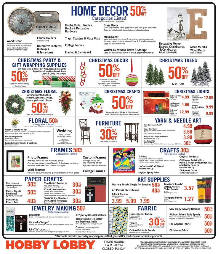 Hobby Lobby Weekly Ad November 26 - December 2, 2017 - http://www.olcatalog.com/grocery/hobby-lobby-weekly-ad.html