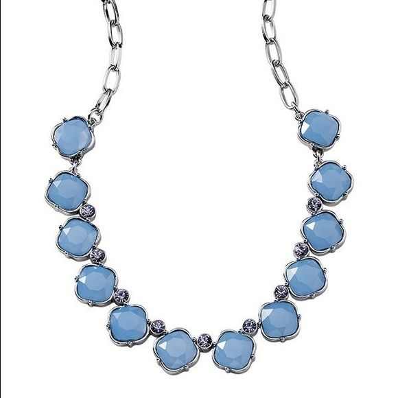 Lia Sophia Thea set Blue  and lavender resin and cut crystals. Set in polished silver Lia Sophia Jewelry