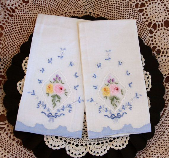 Vintage hand embroidered towels