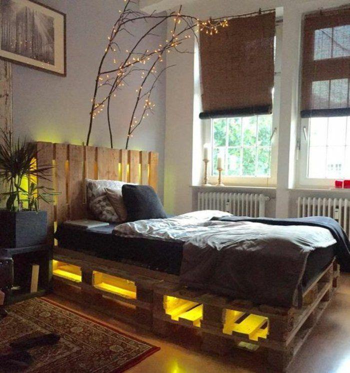 DIY comment fabriquer un lit en palette, tete de lit palette, éclairage LED intégré