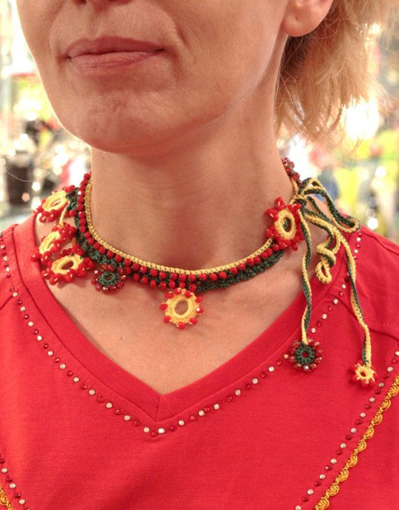 Bead Crochet Necklace Statement Crochet Woman Bib by MARTINELI