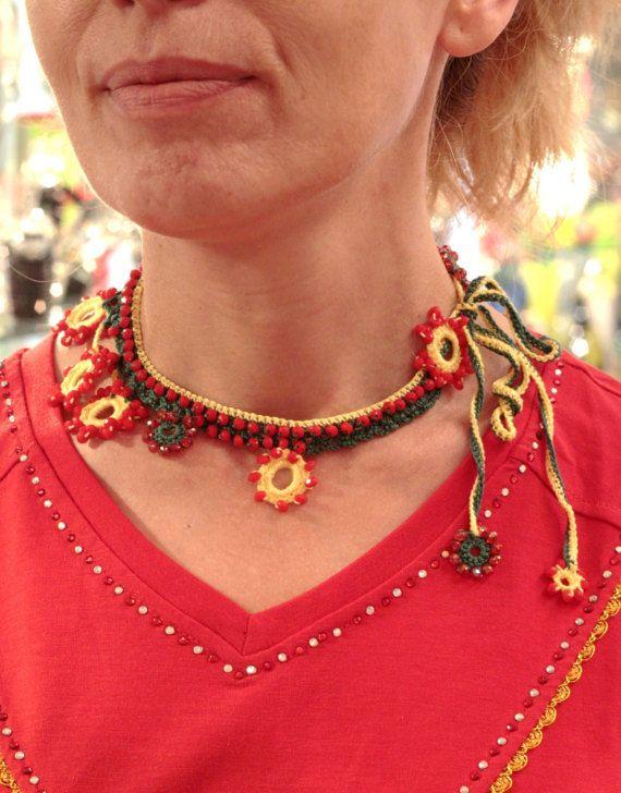 Bead Crochet Necklace Statement Crochet Woman Bib by MARTINELI