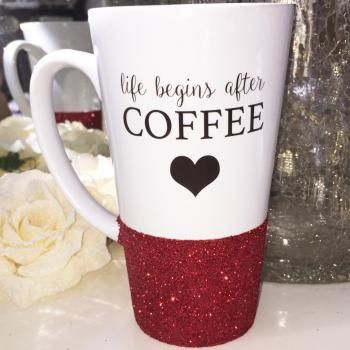 Life Begins After Coffee Glitter Latte Mug