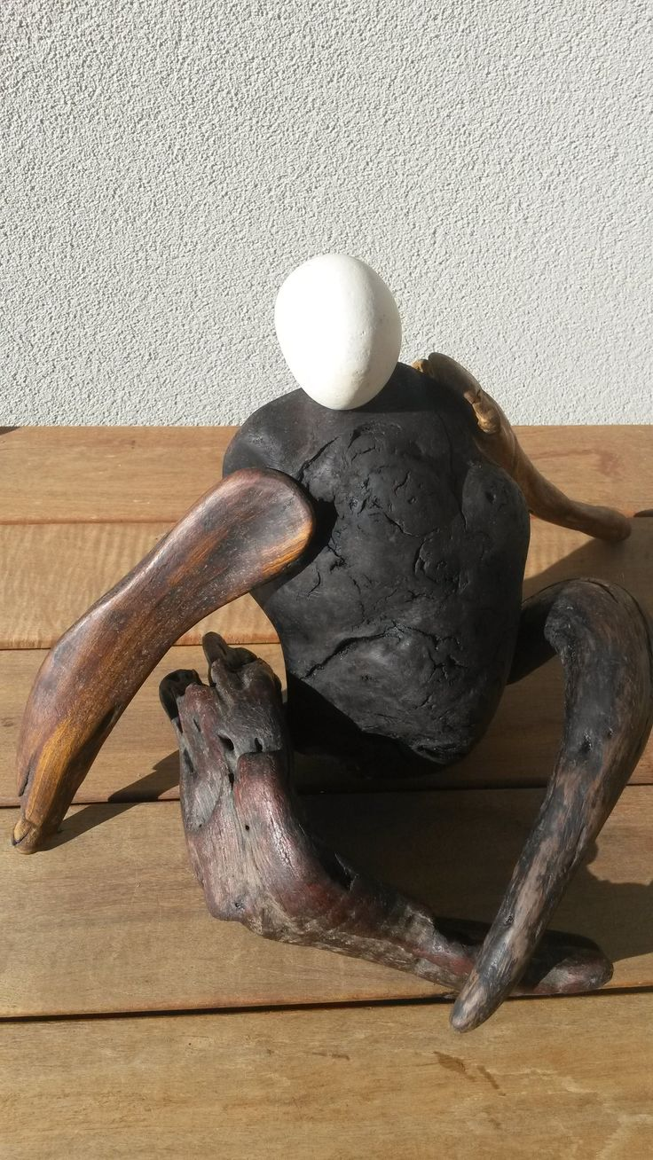 'Sedentary Man' $90 NZ Dollars NZ native driftwood and beach stone