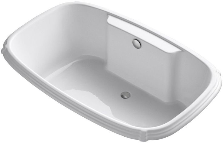 """Kohler K-1454 Portrait Collection 66"""" Drop In Acrylic Soaking Bath Tub with Cent White Tub Soaking Drop-In"""