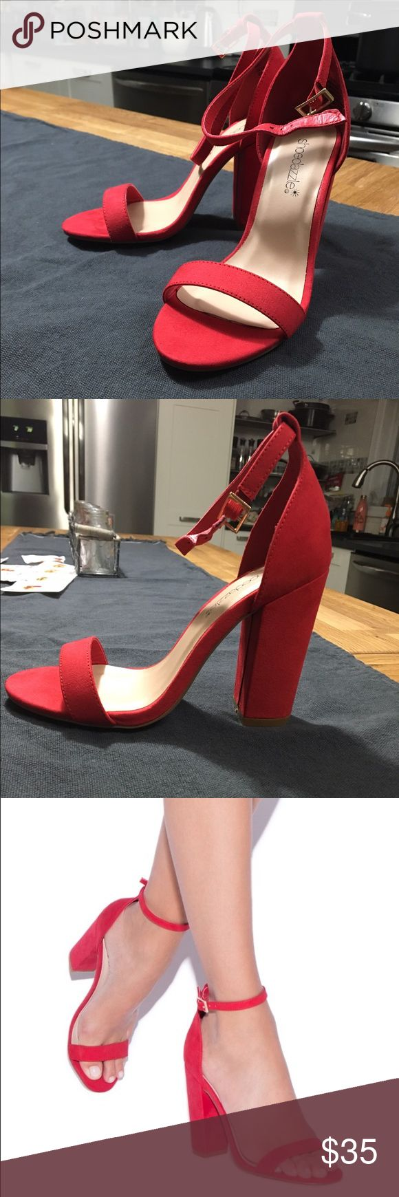 Red Heeled Sandals- Shoe Dazzle Red, faux suede, heeled sandals from Shoe Dazzle; never worn Shoe Dazzle Shoes Heels