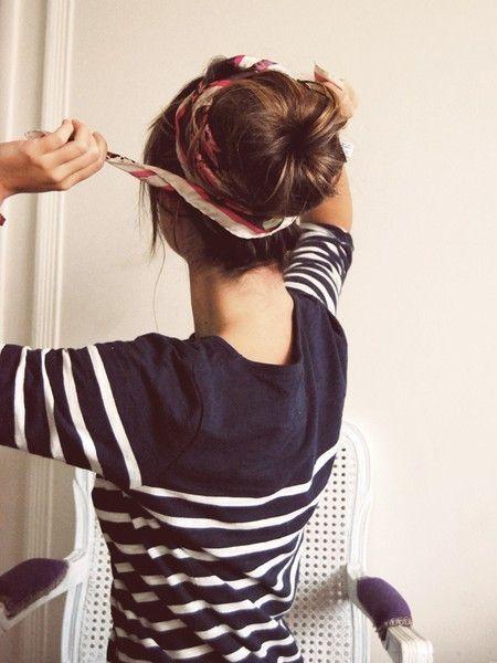 sock bun tutorial: Head Scarfs, Hairstyles, Headscarf, Messy Buns, Scarves, Hair Style, Socks Buns, Hair Buns, Sock Buns