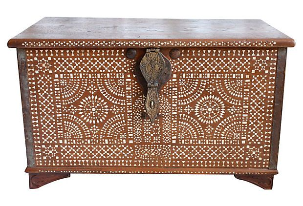 Turn-of-the-century Anglo-Indian trunk Inlaid with intricate abalone pattern on front. Iron lock and side handles. Large inside space with smaller storage compartment.