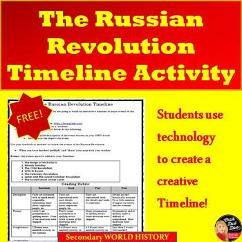 Russian Revolution Interactive Timeline Project  Your students will be engaged in this fun and interactive activity. Students will create an interactive Timeline of the major events of the Russian Revolution using http://timeglider.com. Pin in now!