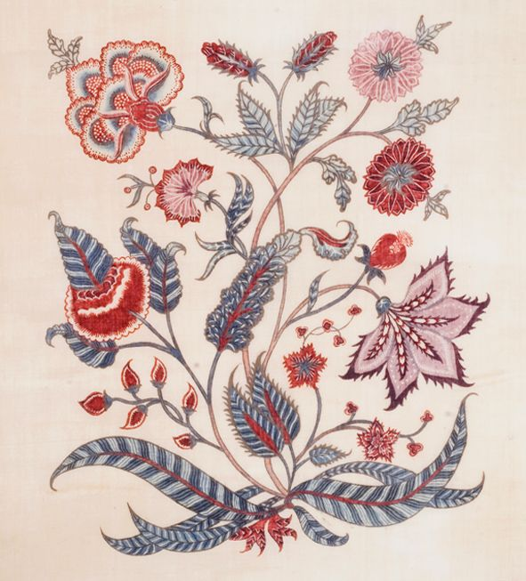 Entirely hand-painted with a kalam (bamboo pen) using natural dyes and resist technique on handspun and hand-woven cotton and are reproductions of early 18th century chintz in V&A collection.