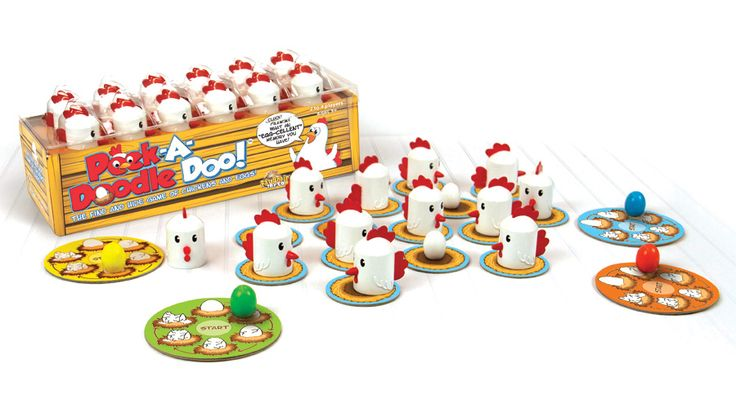 """Peek-A-Doodle Doo and over 7,500 other quality toys at Fat Brain Toys. Cluck! Cluck! What an """"egg-cellent"""" memory you have! A """"My First Game"""" for your clever little farmer. With its constant motion, Peek-A-Doodle Doo engages your child's memory and concentration in a farm fresh way!"""