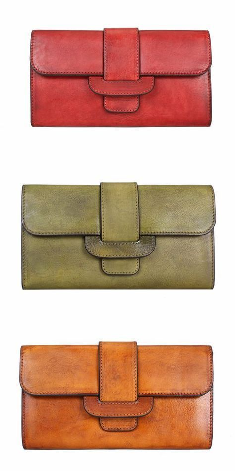 Vintage Full Grain Leather Wallet, Women Long Wallet, Ladies Clutch, Card Holder 851