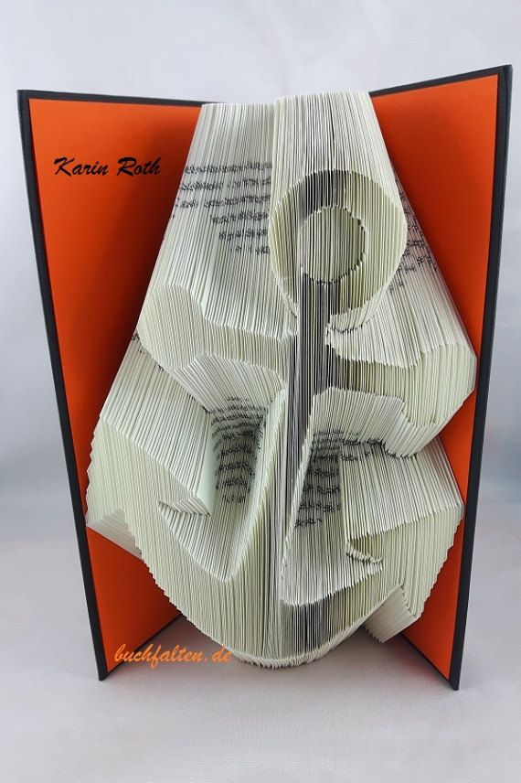 gefaltetes Buch  Motiv: Anker  Buchskulptur  Buchkunst
