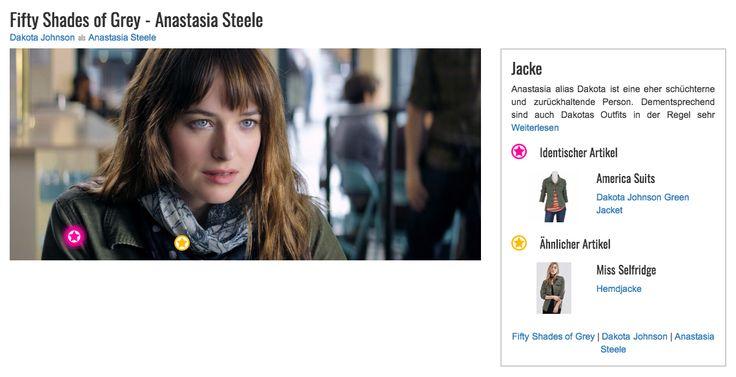 Anastasia alias Dakota ist eine eher schüchterne und zurückhaltende Person. Dementsprechend sind auch Dakotas Outfits in der Regel sehr schlicht und bodenständig. Sie bevorzugt dunkle und unauffällige Töne und entscheidet sich oftmals für praktische Outfits wie Jeans und T-Shirt. Für ihr erstes Kaffee-Date mit ihrem heimlichen Schwarm Christian Grey (Jamie Dornan) wählt sie eine olivgrüne Jeansjacke, die ihrem Style entspricht.
