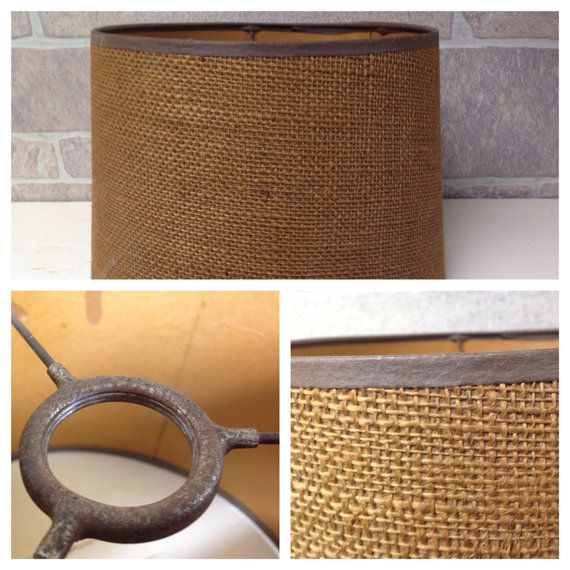 Mid century modern bridge floor lamp burlap shade 60s vintage tropical coastal on Etsy, $49.99