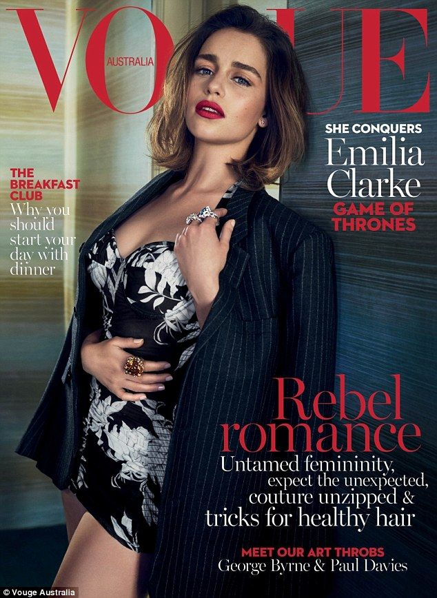 A cover fit for a queen! Game Of Thrones stunner Emilia Clarke smoulders in a monochrome bustier on the cover of the May issue of Vogue Australia